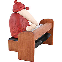 Santa Claus Playing a Brown Piano  -  9cm / 3.5 inch