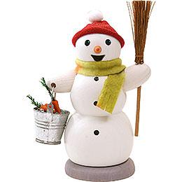 Schneemann mit Eimer und Besen  -  13cm