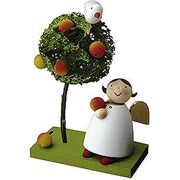 Schutzengel mit Apfel und Apfelbäumchen  -  3,5cm