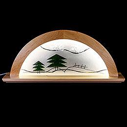 Schwibbogen  -  Erle natur mit Glas und grüner Tanne  -  79x14x35cm