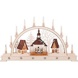 Schwibbogen Kirche mit Sternsängern und LED - Innenbeleuchtung  -  78x45cm