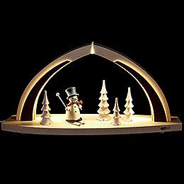 Schwibbogen LED modern wood Schneemann natur  -  41x20x9,5cm