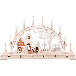 Schwibbogen Weihnachtsmarkt mit LED - Innenbeleuchtung  -  78x45cm