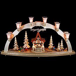 Schwibbogen Weihnachtswald mit Adventshaus, elektrisch  -  80x41cm