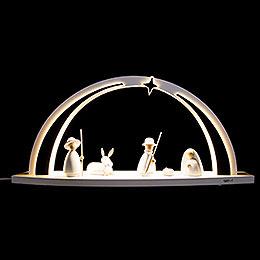 Schwibbogen modern wood WHITE LINE Christi Geburt  -  57x26x10cm