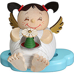 Smoker  -  Angel with Ore Mountains Pyramid  -  10cm / 3.9 inch