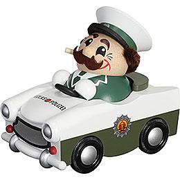 Smoker  -  Ball Figure 2017 Policeman in Trabi, Limitiert  -  11cm / 4.3 inch