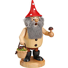 Smoker Forest Gnome Mushroom Picker natural  -  15cm / 6inch