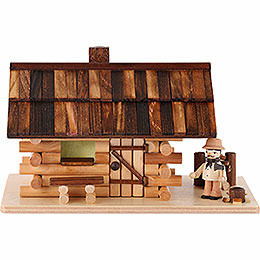 Smoker  -  Forest Hut with Wood Worker  -  10cm / 4 inch