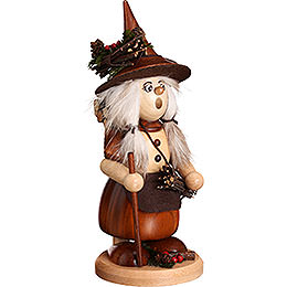 Smoker  -  Lady Gnome with Brushwood, Natural  -  25cm / 9.8 inch