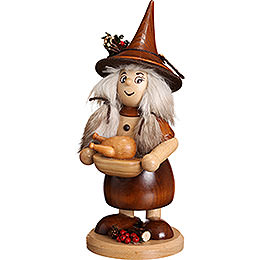 Smoker Lady Gnome with Pan, natural  -  25cm / 10inch