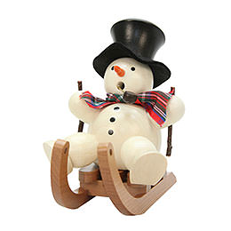Smoker Snowman on sleigh  -  10,5cm / 4inch