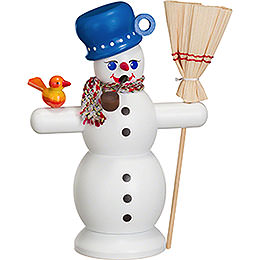 Smoker Snowman with blue Pot  -  16cm / 6 inch