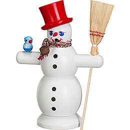 Smoker Snowman with red Hat  -  16cm / 6 inch