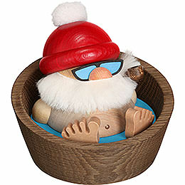 Smoker ball figure Santa Claus Karl in the pool  -  10cm / 3.9inch
