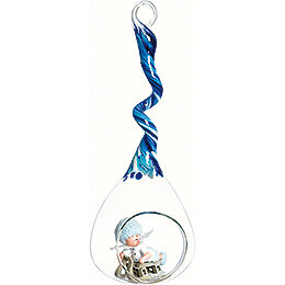 Snowflake with sleigh in glass drop blue  -  20cm / 7.9inch