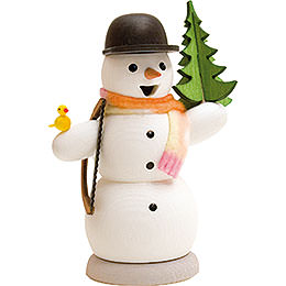 Snowman with Fir Tree and Saw  -  13cm / 5.1 inch