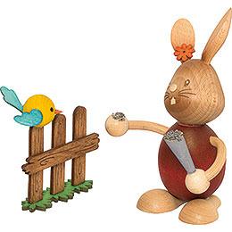 Snubby Bunny with bird  -  12cm / 4.7inch