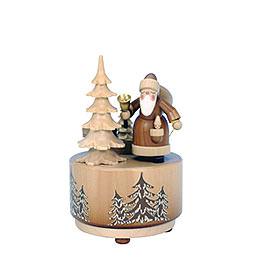Spieldose Weihnachtsmann natur  -  d 9,5cm