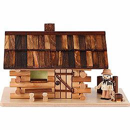Traditionelles Rauchhaus Waldh�tte mit Waldarbeiter  -  10cm