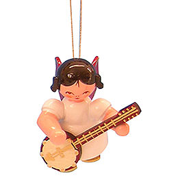 Tree Ornament  -  Angel with Banjo  -  Red Wings  -  Floating  -  5,5cm / 2,1 inch
