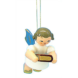 Tree Ornament  -  Angel with Bible  -  Blue Wings  -  Floating  -  6cm / 2,3 inch
