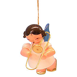 Tree Ornament  -  Angel with Trombone  -  Blue Wings  -  Floating  -  5,5cm / 2,1 inch