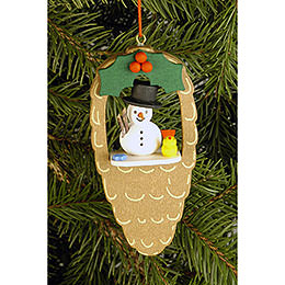 Tree Ornament  -  Cone with Snowman and Bird  -  4,4x8,8cm / 1.7x3.5 inch