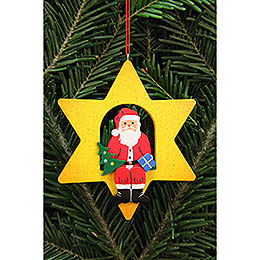 Tree Ornament  -  Santa Claus in Star  -  9,5x9,5cm / 3.7x3.7 inch