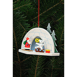 Tree Ornaments Iglo with Icebear  -  9,2x7,0cm / 4x3 inch