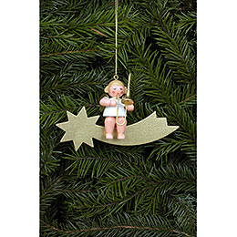 Tree ornament Angel and Star in gold with Trombone  -  6,5cm / 3 inch