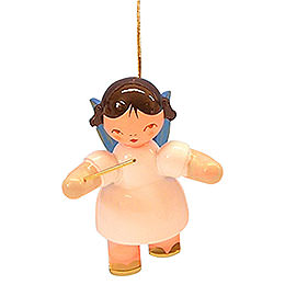 Tree ornament Angel conductor  -  Blue Wings  -  floating  -  5,5cm / 2,1 inch