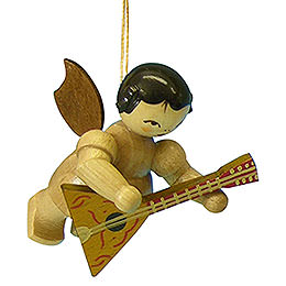 Tree ornament Angel with balalaika  -  natural colors  -  floating  -  5,5cm / 2,1 inch