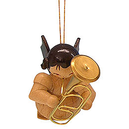 Tree ornament Angel with baritone  -  natural colors  -  floating  -  5,5cm / 2,1 inch