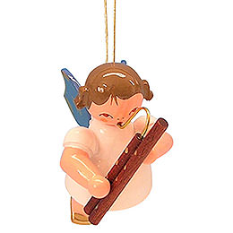 Tree ornament Angel with bassoon  -  Blue Wings  -  floating  -  5,5cm / 2,1 inch
