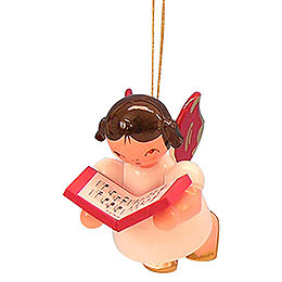 Tree ornament Angel with book  -  Red Wings  -  floating  -  5,5cm / 2,1 inch