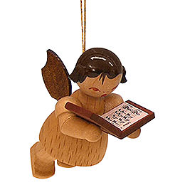 Tree ornament Angel with book  -  natural colors  -  floating  -  5,5cm / 2,1 inch