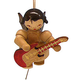 Tree ornament Angel with electric guitar  -  natural colors  -  floating  -  5,5cm / 2,1 inch