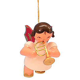 Tree ornament Angel with flugelhorn  -  Red Wings  -  floating  -  5,5cm / 2,1 inch