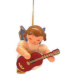 Tree ornament Angel with guitar  -  Blue Wings  -  floating  -  5,5cm / 2,1 inch