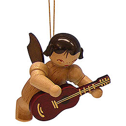 Tree ornament Angel with guitar  -  natural colors  -  floating  -  5,5cm / 2,1 inch