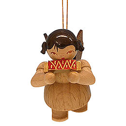 Tree ornament Angel with harmonica  -  natural colors  -  floating  -  5,5cm / 2,1 inch