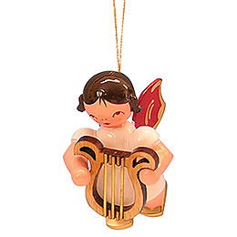 Tree ornament Angel with lyre  -  Red Wings  -  floating  -  5,5cm / 2,1 inch
