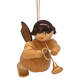 Tree ornament Angel with trumpet  -  natural colors  -  floating  -  5,5cm / 2,1 inch