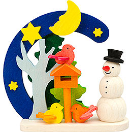 Tree ornament Arch and snowman with bird house  -  7cm / 2.8inch