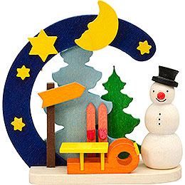 Tree ornament Arch and snowman with sleigh  -  7cm / 2.8inch