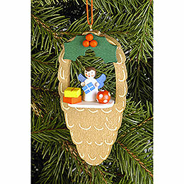 Tree ornament Cone with Angel  -  4,4 x 8,8cm / 1.7 x 3.5inch