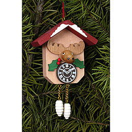 Tree ornament Cuckoo Clock with Moose  -  6,4 x 6,5cm / 2.5 x 2.5inch