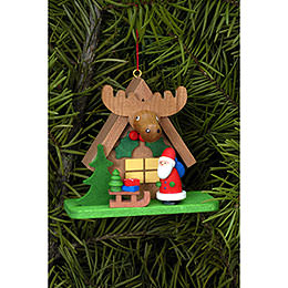 Tree ornament Forest house with Santa Claus  -  7,1 x 6,2cm / 2.8 x 2.4inch