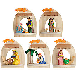 Tree ornament Nativity, natural  -  set of five  -  8,5cm / 3.3inch